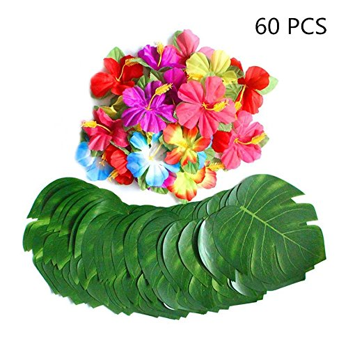 Changing Table Island (60 Pieces Tropical Party Decoration Supplies,8 Inch Tropical Palm Leaves and 4 Inch Hibiscus Flowers, Simulation Leaf for Hawaiian Luau Party Jungle Beach Theme Table Decorations)