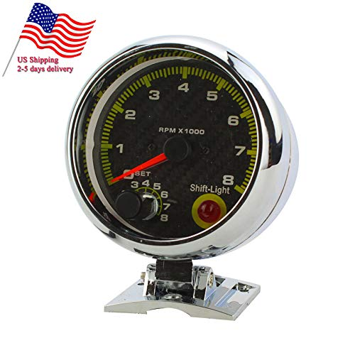 CARESHINE Tacho Gauge With Shift Light 0-8000 12V Universal Car 3.75'' RPM Tachometer US Shipping 2-5 Days Arrival by CARESHINE