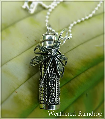 URN Sterling silver Ash Pendant Dragonfly Angel Wing or Personalization Custom urn locket pendant necklace for ashes or hair in memory of child baby or loved one CREMATION JEWELRY
