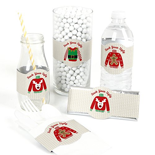 (Ugly Sweater - DIY Party Supplies - Holiday & Christmas Party DIY Wrapper Favors & Decorations - Set of)