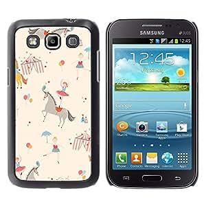 Del caballo del circo de la bailarina Niños Retro Beige - Metal de aluminio y de plástico duro Caja del teléfono - Negro - Samsung Galaxy Win I8550