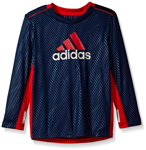 Adidas Big Boys' Performance Logo Long Sleeve Tee Shirt, Collegiate Navy, - Long Adidas Sleeve Shirt