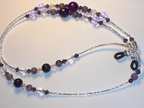 Eyeglass Chain Lavender and Purple Faceted Cut Glass 28 inches Beaded Handmade NEW (Cut Faceted Glass)