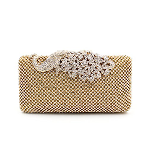 Clutch Purses Golden Peacock for Women Luxury Rhinestone Crystal Evening Clutch Bags Vintage Party