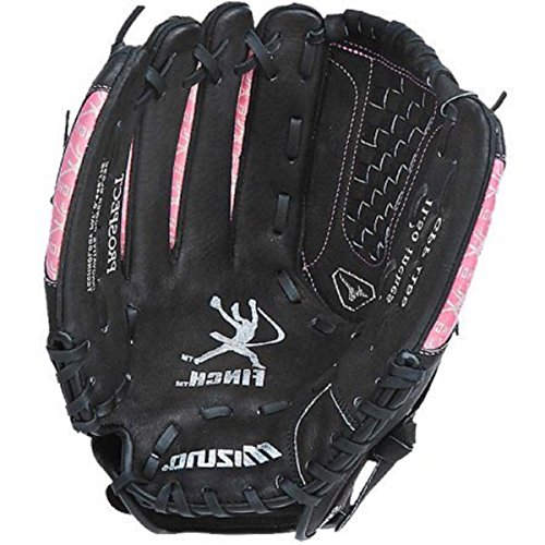 Mizuno Youth GPP1155 Prospect Fast Pitch Softball Mitt (Black/Pink, 11.50-Inch, Left Handed Throw) ()