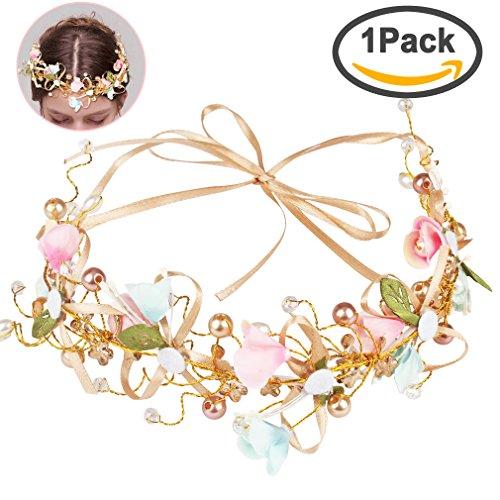 Jaciya Bridal Flower Garland Crown Flower Headband Hair Wreath Halo with Flower Wrist Corsage for Wedding Festivals