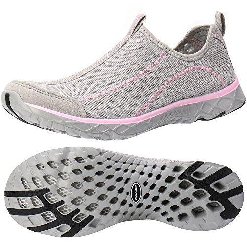 (ALEADER Women's Slip On Aqua Water Shoes LT Gray/Pink 5.5 D(M) US)