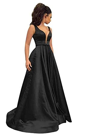 e3e3f53980c LORIE Women s Sexy Deep V Neck A Line Prom Dresses Long Satin Formal  Evening Party Gown