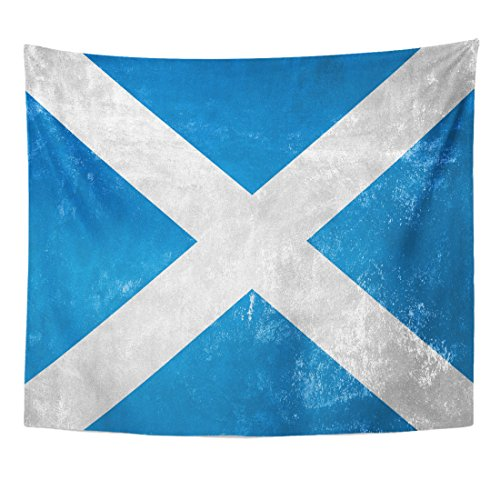 VaryHome Tapestry Canvas Scotland Scottish Flag on Old Grunge Damaged Dirty Home Decor Wall Hanging for Living Room Bedroom Dorm 50x60 Inches