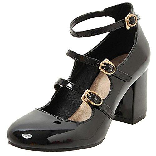 COOLCEPT Mujer Clasico Strappy Court Zapatos Tacon Ancho Alto Zapato Ladies Mary Janes Bombas Zapatos Negro