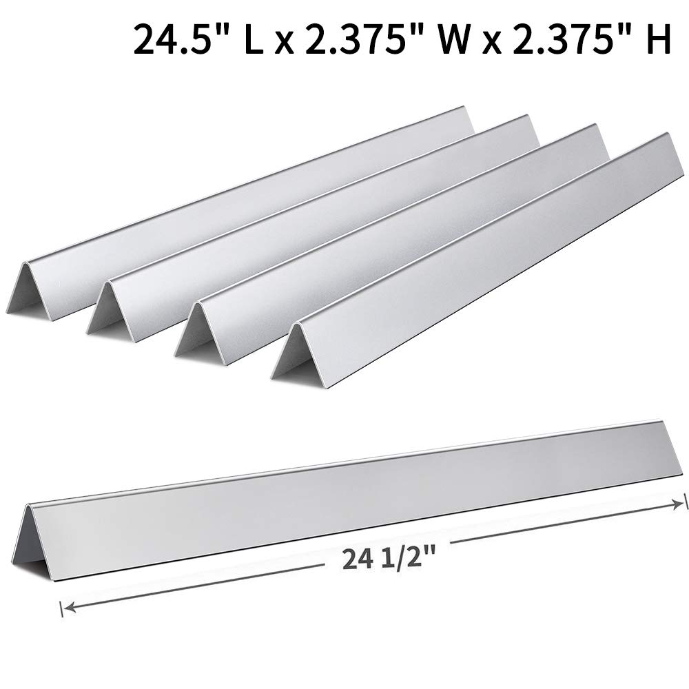 SHINESTAR 7540-24.5 inch Grill Parts Replacement for Weber Genesis 300 310 E310 320 Flavorizer Bars (with Side Control Panel), Set of 5 Stainless Steel Flavor Bars (SS-WB003) by SHINESTAR