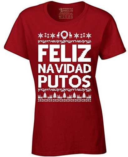 Awkward Styles Women's Feliz Navidad Putos Christmas T-Shirt XL Red