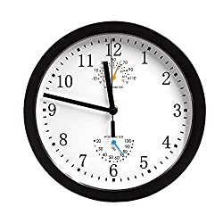 Magho Non-ticking Silent Indoor/Outdoor Wall Clock with Thermometer and Hygrometer for Kitchen/Living Room/Bathroom/Garage etc., Battery Operated, Black Color,Metal Frame,10'