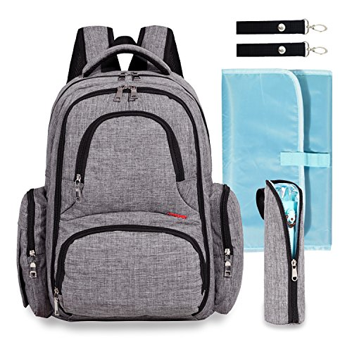 Big Sale – Baby Diaper Bag Waterproof Travel Diaper Backpack with Changing Pad and Stroller Clips (Gray)
