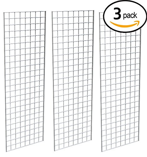 Grid Panel for Retail Display – Perfect Metal Grid for Any Retail Display, 2' Width x 6' Height, 3 Grids Per Carton (Chrome)