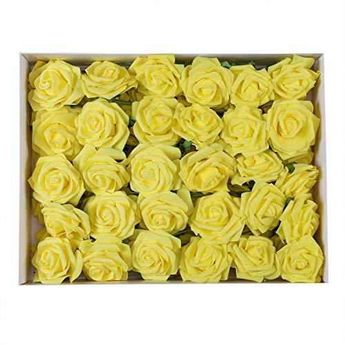 Duovlo Artificial Rose Flower 60 PCS Foam Roses Marry Bridesmaid Bouquets DIY Wedding Centerpieces Party Baby Shower Center Arrangements Decorations (Yellow) (Yellow Rose Wine)
