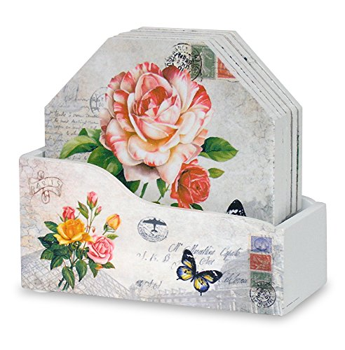 Decorative Drink Coasters with Holder - Set of 6 - Assorted Butterfly and Rose Designs - Each Coaster is Printed with a Unique European Vintage Post Card Theme ()