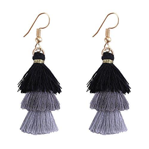 (Kelitch Jewelry Tassel Earrings w/Tiered Thread Multi-Layered Ombre Pendant Dangle Drop Earring - Grey)