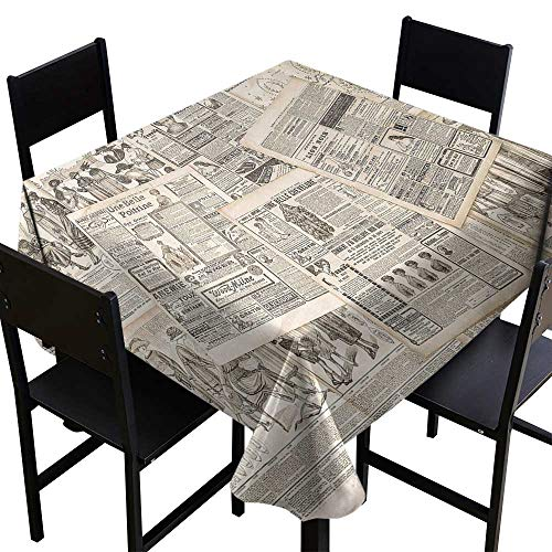 paper Elegance Engineered Tablecloth Nostalgic Aged Pages with Antique Advertising Fashion Magazines Retro Print Indoor Outdoor Camping Picnic ()