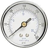 "PIC Gauge 102D-204H Dry Filled Utility Center Back Mount Pressure Gauge with Black Steel Case, Chrome Bezel, Plastic Lens, 2"" Dial Size, 1/4"" Male NPT Connection Size, 0/300 psi Range"