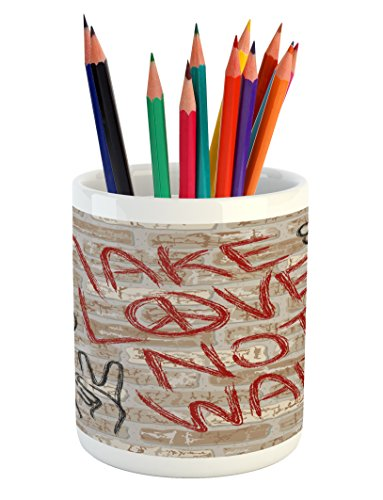 Lunarable Groovy Pencil Pen Holder, Make Love Sixties Slogan Graffiti on Brick Wall Style Backdrop Counter Culture, Printed Ceramic Pencil Pen Holder for Desk Office Accessory, Tan Black Red (Brick Patios Ideas For)