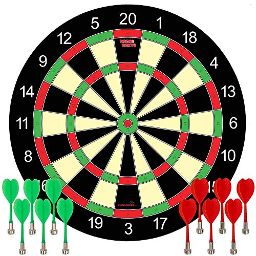 Funsparks Magnetic Dart Board Game – 12 Darts – 6 Green and 6 Red Darts – Best Kids Toy Gift Indoor Outdoor Games for…