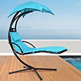 Giantex Hanging Chaise Lounger Chair Arc Stand Porch Swing Hammock Chair W/Canopy Large Weight Capacity (Blue) Review