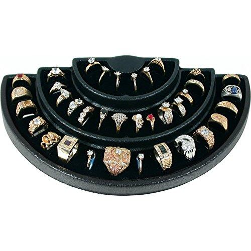 36 Slot 3 Tier Black or White Ring Display Foam Jewelry Stand (Black/Black) (36 Riser)