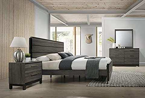 Roundhill Furniture Ioana 187 Antique Grey Finish Wood Bed Room Set, Queen Size Bed, Dresser, Mirror, Night - Seaside Dreams Panel Bed