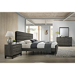 Roundhill Furniture Ioana Antique Grey Finish Wood Bed Room Set, King Size Bed, Dresser, Mirror, Night Stand