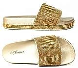 Forever Link Viste-07 Rhinestone Glitter Slide Slip On Flatform Footbed Sandal Slippers (10, Gold-07)