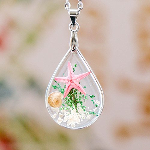 Chicer Pendant Real starfish Seashell Underwater Plant life Necklace, Cute Drop Water necklace for Women and Girls. (Pink)