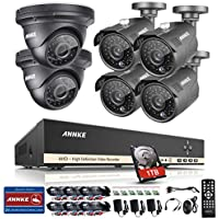 ANNKE 8CH 1.3MP 1280x960p Security Camera System 1080N Digital Video Recorder with 1TB Hard Drive and (6) 960P 1500TVL Outdoor Fixed Weatherproof Cameras, HDMI Output, QR Code Scan to Remote View