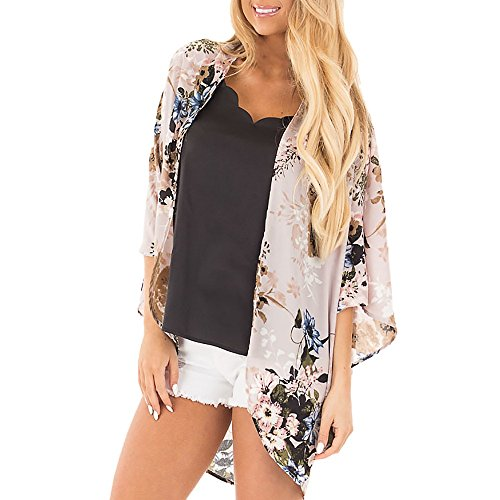 Women Plus Size Cardigan Chiffon Kimono Floral Thin Cover up 3/4 Sleeve Beachwear Shawl Blouses Lace Sun Protection Top Clothing Pink