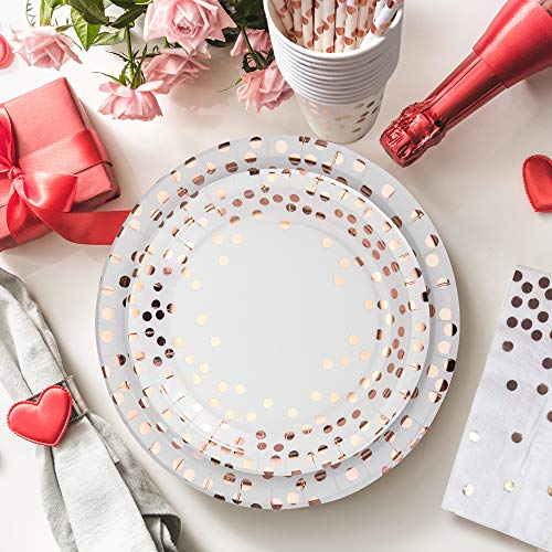 251PCS Gold Disposable Paper Plates Dinnerware Set with 50 Dessert Plates 50 Dinner Plates 50 9oz Cups 50 Straws 50 Napkins 1 Tablecloth Wedding Birthday Baby Shower party supply
