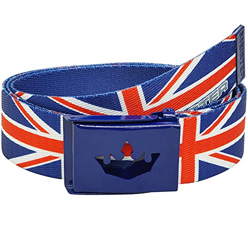 (Meister Player Golf Web Belt - Adjustable & Reversible - Union Jack)