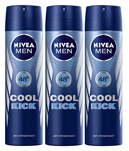 (Nivea Cool Kick Deo for Men Spray 48 Hr Antiperspirant 150ml (Pack of 3))