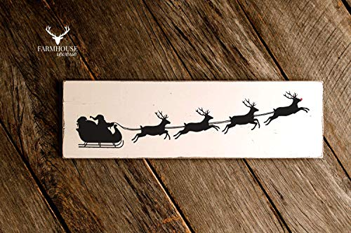 Santas Sleigh Sign | Reindeer Sign | Rudolph | Farmhouse Christmas Decor | Christmas Decorations | Holiday Decor | Rustic Sign | Vintage Christmas Sign | Rustic Christmas | Shabby Chic Decor