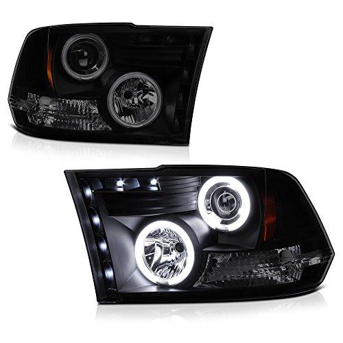 [For 2009-2018 Dodge RAM 1500 2500 3500] CCFL Halo Ring Black Smoke Projector Headlight Headlamp Assembly, Driver & Passenger Side