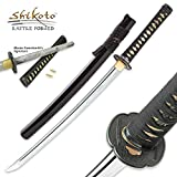 Shikoto Longquan Master Handmade Ninja Wakizashi / Samurai Sword - Hammer Forged Clay Tempered T10 Carbon Steel - Brass Habaki, Menuki - Iron Tsuba, Tea-Dyed Genuine Ray Skin, Traditional Mekugi