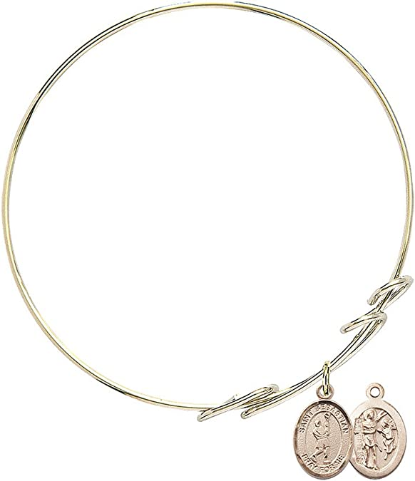 DiamondJewelryNY Double Loop Bangle Bracelet with a Holy Family Charm.