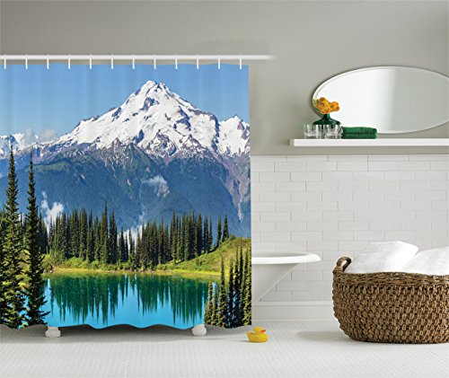 Ambesonne Cottage Decor Collection, Scenery of Image Lake and Snowy Glacier Peak in Washington USA with Tall Pine Tree Forest, Polyester Fabric Bathroom Shower Curtain, 84 Inches Extra Long, White Glacier Christmas Tree