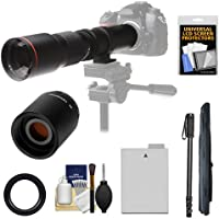 Vivitar 500mm f/8.0 Telephoto Lens with 2x Teleconverter (=1000mm) + LP-E8 Battery + Monopod Kit for Canon EOS Rebel T3i, T4i, T5i Camera Basic Intro Review Image
