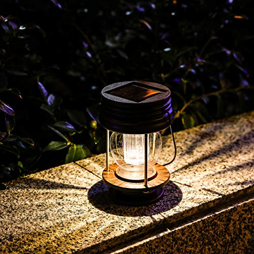 Obell Hanging Solar Lights 2 Pack Outdoor Garden Lights LED Retro Solar Hanging Lanterns with Handle for Pathway Yard Patio Tree Decor Table Lamp Lights (Warm Lights) (Lights Solar Lantern)