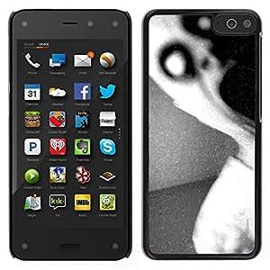 EJOY---Cubierta de la caja de protección para la piel dura ** Amazon Fire Phone ** --Oscuro Monster Scary Negro Blanco