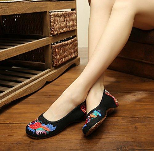 Avacostume Womens Broderie Poisson Rouge Oxfords Semelle Casual Chaussure De Danse Noir