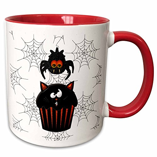 3dRose Doreen Erhardt Halloween Collection - Cute Furry Halloween Spider Stealing a Sweet Pumpkin Cupcake - 15oz Two-Tone Red Mug (mug_202988_10) ()