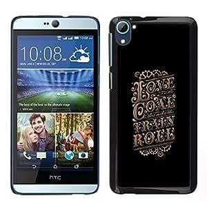 Amor Cartel Negro Retro Vintage Oro- Metal de aluminio y de plástico duro Caja del teléfono - Negro - HTC Desire D826