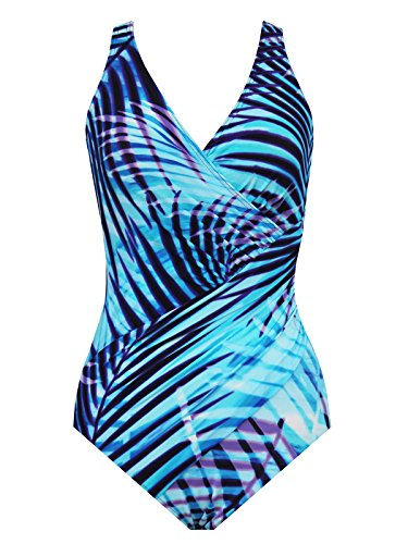 Miraclesuit Women's Plus Size Palm Reader Oceanus One-Piece Blue Swimsuit by Miraclesuit