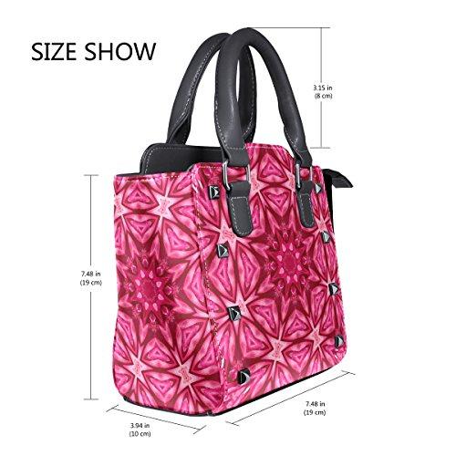 Women's Flower Tote Handbags Center TIZORAX Bags Shoulder Concentric Leather tZxq55C1w